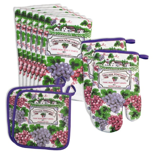 Vineyard Velour Terry 10 Piece Oven Mitt and Potholder Set by Design Imports