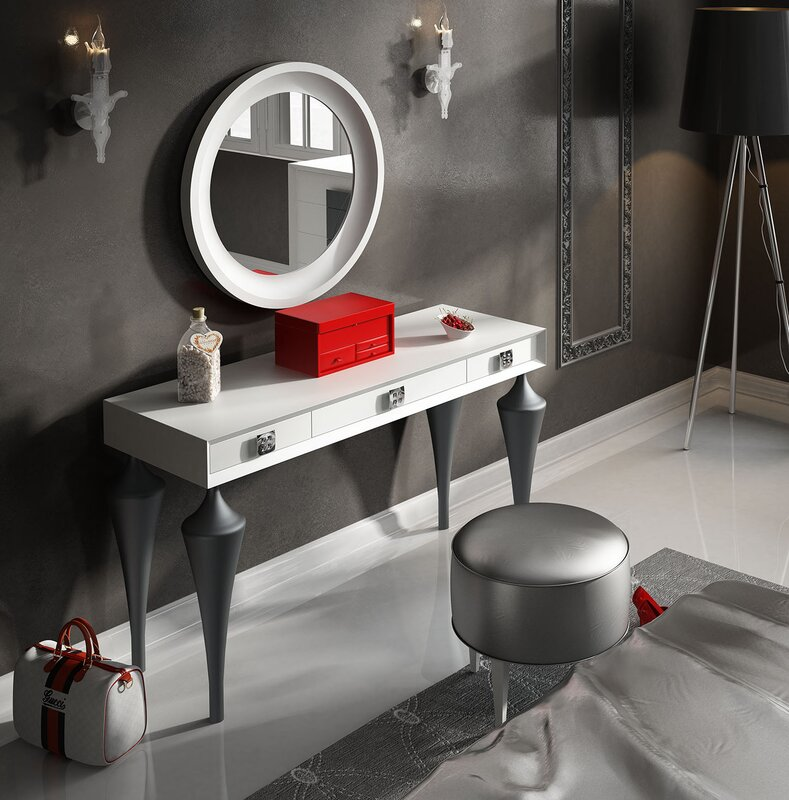 Everly Quinn Kirkwood Bedroom Makeup Vanity Set with Mirror ...