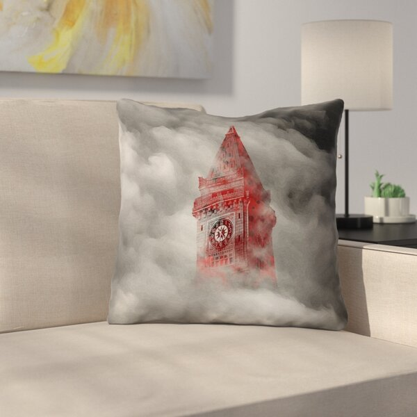Watercolor Gothic Clocktower Outdoor Throw Pillow
