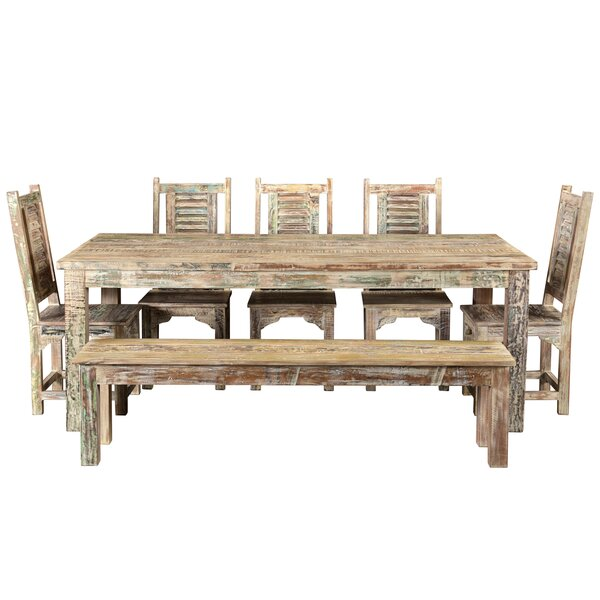 7 Piece Solid Wood Dining Set by Bloomsbury Market Bloomsbury Market