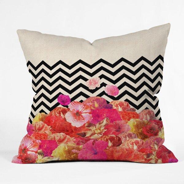 Bianca Green Chevron Flora 2 Throw Pillow by Deny Designs