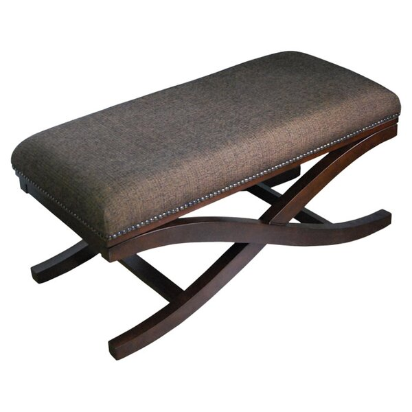 Large Upholstered Cocktail X-Leg Bench by Alcott Hill