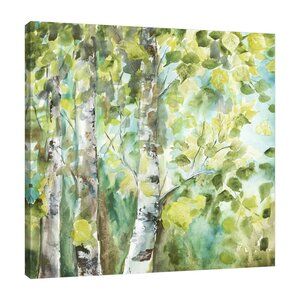 'Watercolor Summer Aspens' by Tre Sorelle Studios Painting Print on Wrapped Canvas by Jaxson Rea