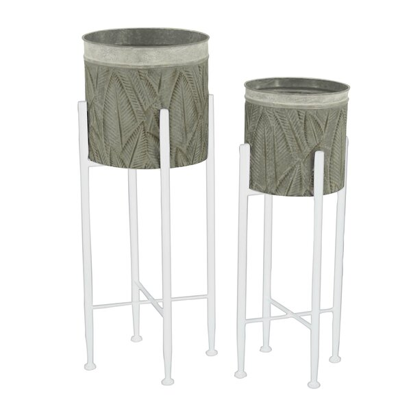 Rustic Embossed Leaf Designed Round 2-Piece Pot Planter Set by Cole & Grey
