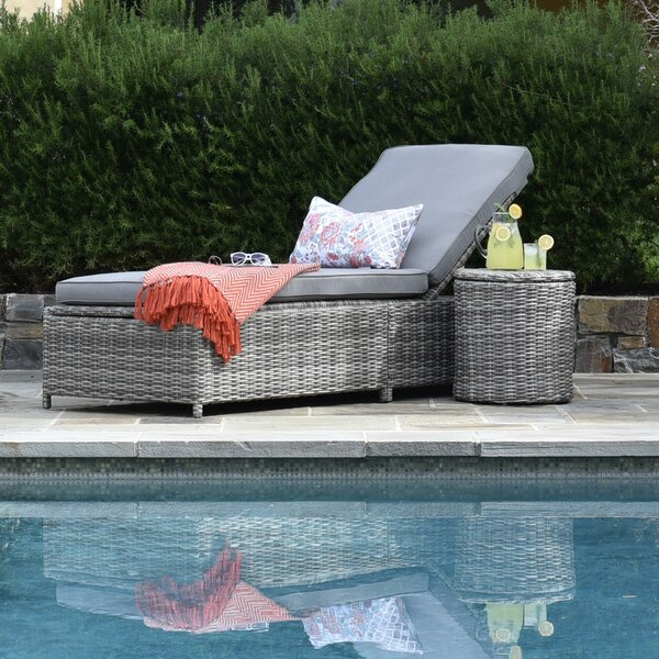 Vallauris Reclining Chaise Lounge with Cushion and Table by Elle Decor Elle Decor