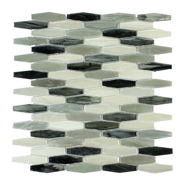 Esagono Contrasto 0.75 x 2.75 Glass Mosaic Tile in Black/Gray by Byzantin Mosaic