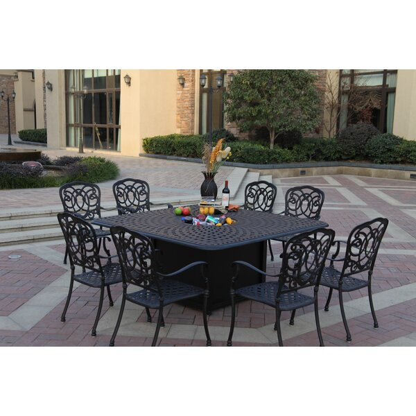 Dolby 9 Piece Metal Frame Dining Set with Cushions by Astoria Grand