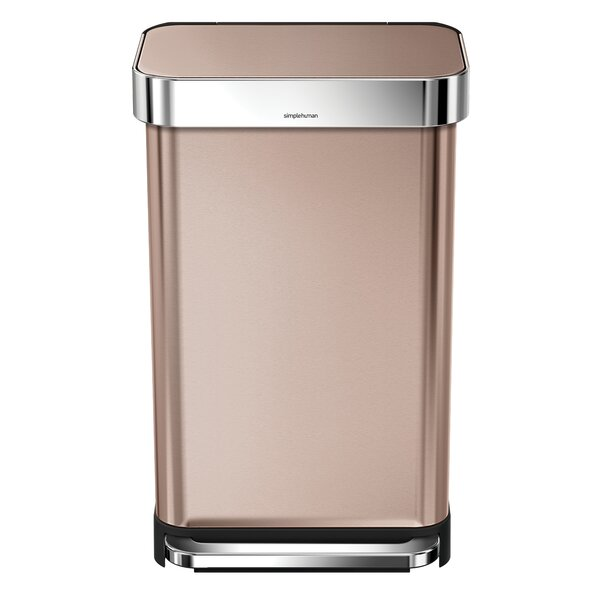 11.9 Gallon Rectangular Step Trash Can with Liner Pocket, Rose Gold Steel by simplehuman