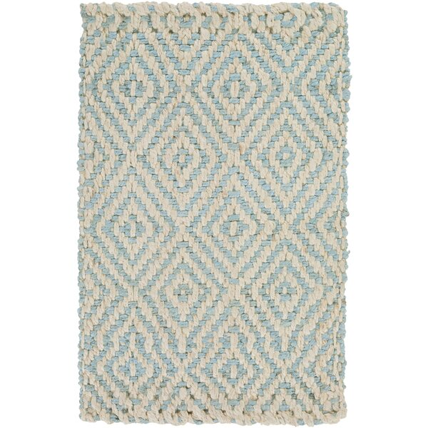 Annalee Hand-Woven Cream/Aqua Area Rug by Beachcrest Home