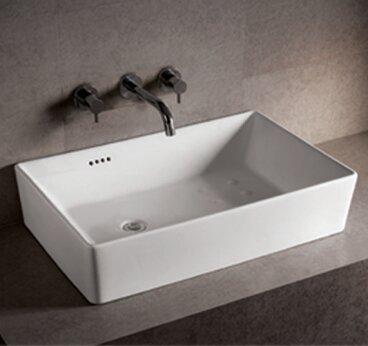 Isabella Ceramic Rectangular Vessel Bathroom Sink with Overflow by Whitehaus Collection