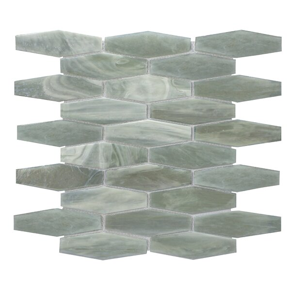 Esagono 1.5 x 4.75 Glass Mosaic Tile in Jade Gray by Byzantin Mosaic