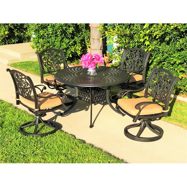Camptown 5 Piece Sunbrella Dining Set with Cushions by Fleur De Lis Living