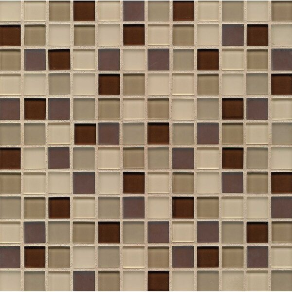 Harmony Accord 1 x 1 Glass Mosaic Tile in Brown/Beige by Grayson Martin