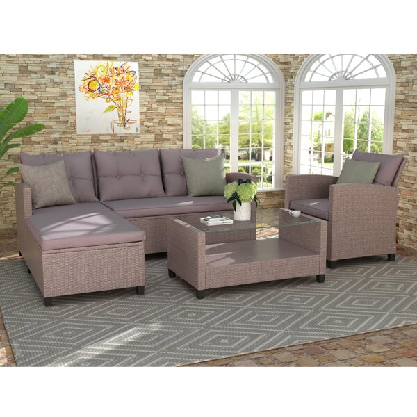 Adolphe 4 Piece Rattan Sectional Seating Group with Cushions by Latitude Run