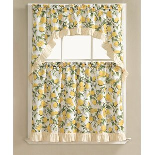 Storer Lemon Fest Kitchen Curtain Set (Set Of 3)