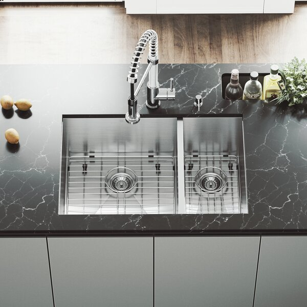Endicott Stainless Steel Double Bowl Undermount Kitchen Sink with Grids and Strainers by VIGO