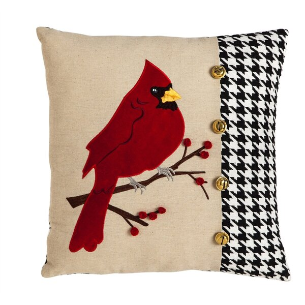 Donellan Cardinal Houndstooth Throw Pillow by Three Posts