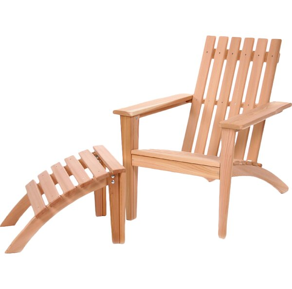 Western Red Cedar Solid Wood Adirondack Chair with Ottoman by All Things Cedar