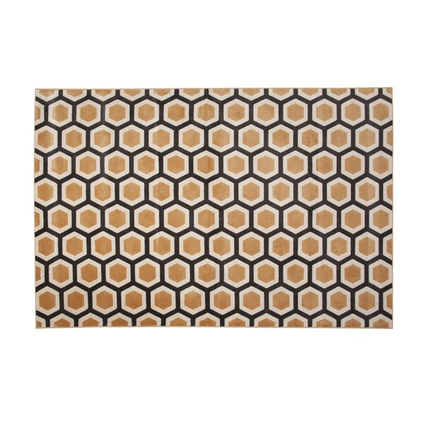 Becker Tangerine Honeycomb Area Rug by Corrigan Studio