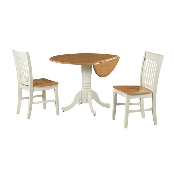 Shirk 3 Piece Drop Leaf Solid Wood Dining Set by August Grove August Grove