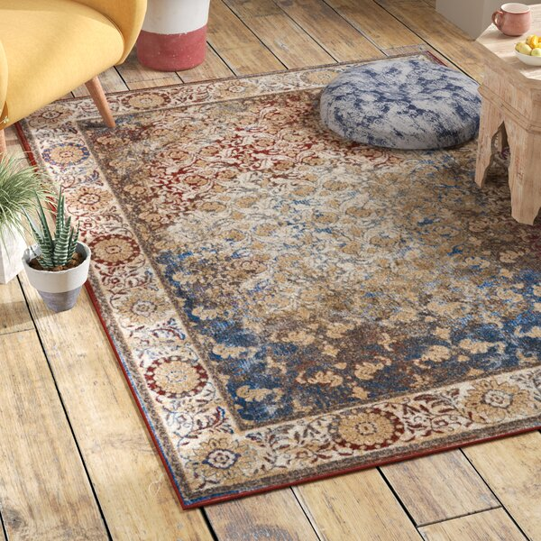 Mcknight Beige/Red Area Rug by Bungalow Rose