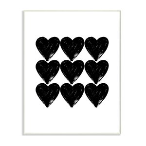 Hearts Black And White Glam' Graphic Art Print by Wrought Studio