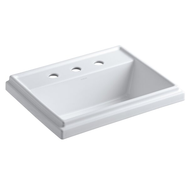 Tresham® Ceramic Rectangular Drop-In Bathroom Sink with Overflow by Kohler