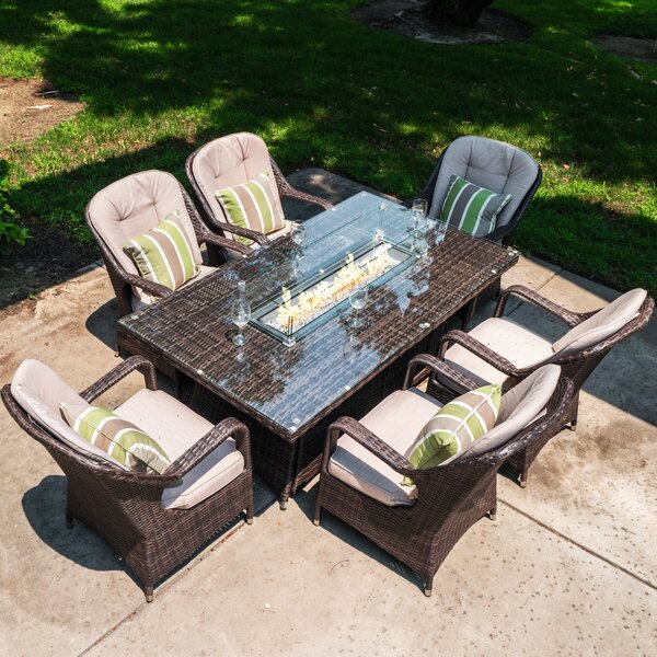 Colville 7 Piece Dining Set with Cushions and Firepit by Darby Home Co