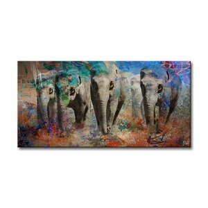 Saddle Ink Elephant IV Graphic Art on Canvas by Ready2hangart