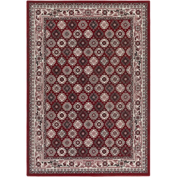 Bernhard Crimson Red / Ivory Area Rug by Three Posts