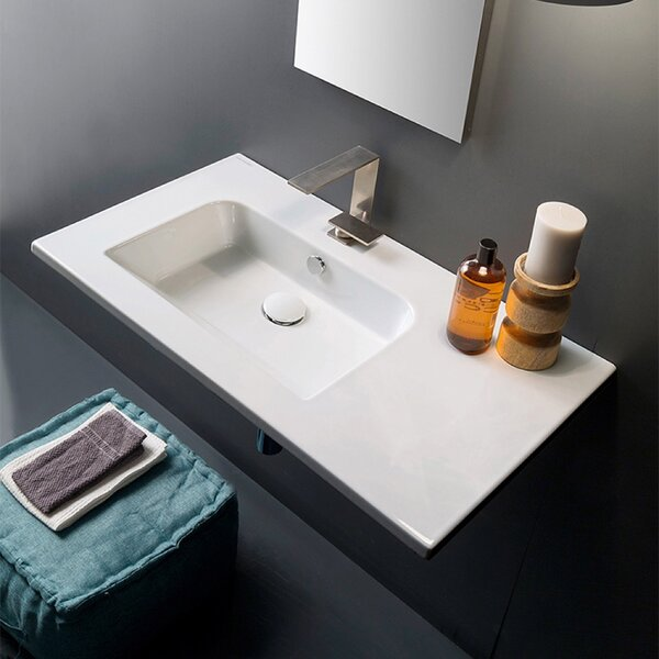 Ceramic 33'' Wall Mount Bathroom Sink with Overflow by Scarabeo by Nameeks