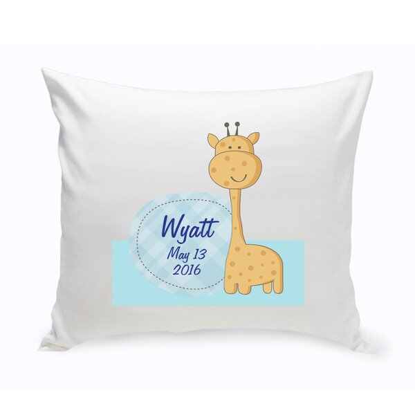Personalized Nursery Baby Giraffe Cotton Throw Pillow by JDS Personalized Gifts