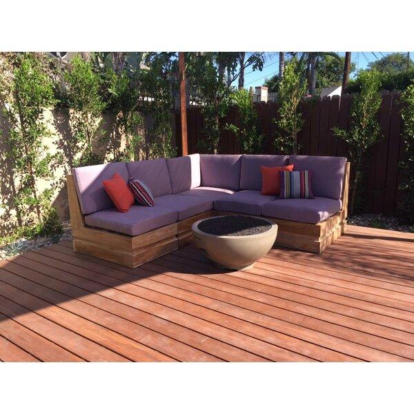 Seaside 5 Piece Teak Sunbrella Sectional Set with Cushions by Trijaya Living