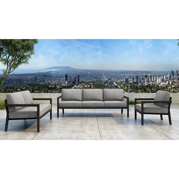 Iliana 3 Piece Sofa Seating Group with Sunbrella Cushions by 17 Stories