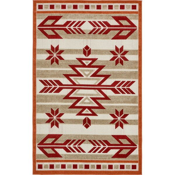 Lochbuie Burgundy/Beige/Terracotta Indoor/Outdoor Area Rug by Loon Peak