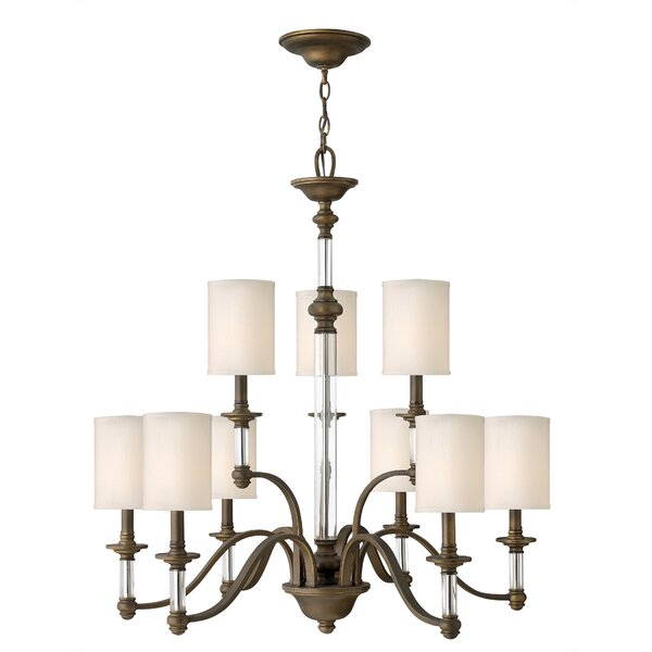 Harrison 9-Light Shaded Tiered Chandelier By Canora Grey