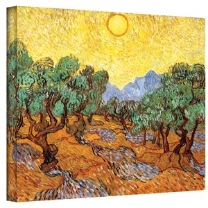'Olive Grove with Yellow Sky' by Vincent Van Gogh Painting Print on Canvas by Andover Mills