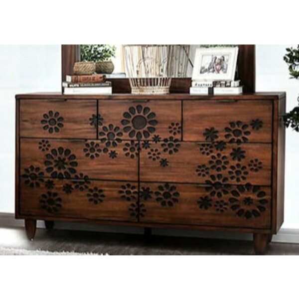 Casswell Transitional Solid Wood 7 Drawer Double Dresser by Bungalow Rose