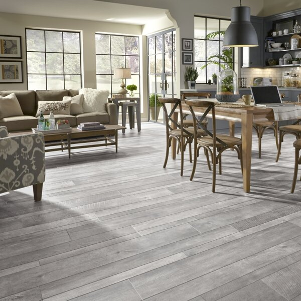 Restoration Wide Plank 8'' x 51'' x 12mm Oak Laminate Flooring in Steel by Mannington