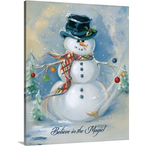 Christmas Art 'Snowman Magic' by Susan Comish Painting Print on Wrapped Canvas by Canvas On Demand