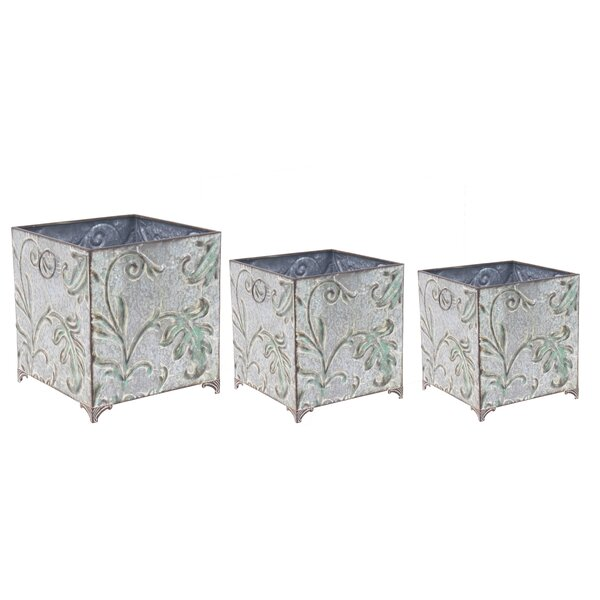 Traditional Botanical Inspired Square 3-Piece Planter Box Set by Cole & Grey