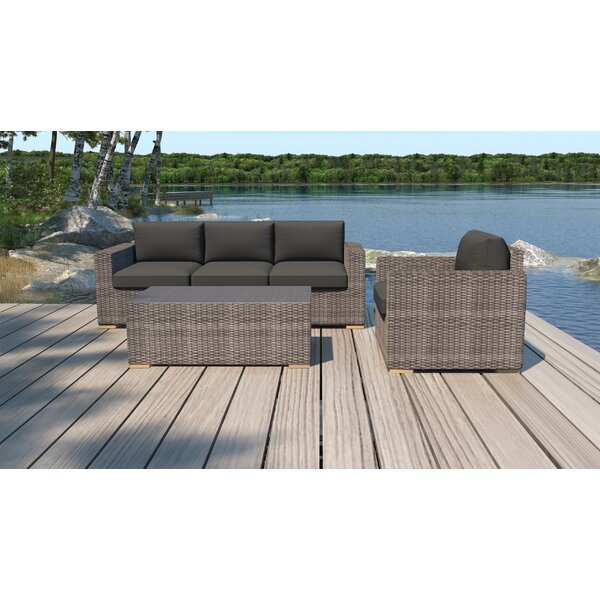 Holcomb 3 Piece Rattan Sofa Seating Group with Sunbrella Cushions by Rosecliff Heights Rosecliff Heights