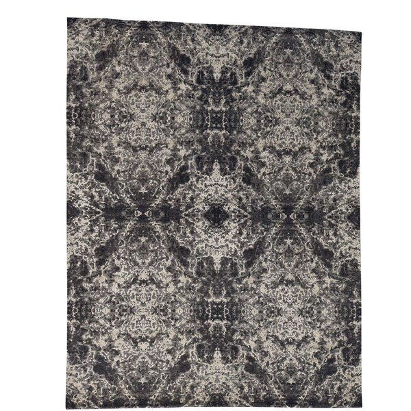 One-of-a-Kind Eddyville Hand-Knotted Black/Beige Area Rug by 17 Stories