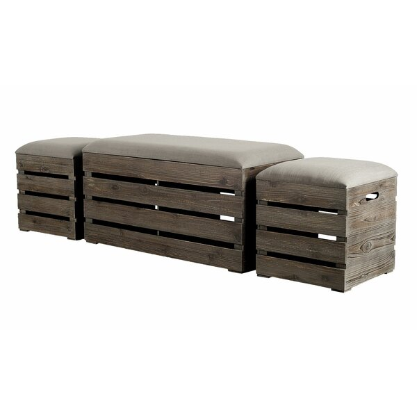 Admiranda 3 Piece Upholstered Storage Bench