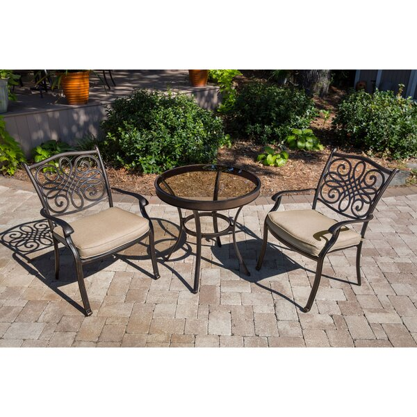 Robey Patio Garden 3 Piece Bistro Set with Cushions by Canora Grey