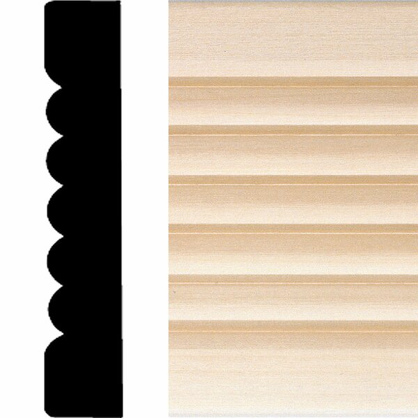3/4 in x 4 in. x 7 ft. Hardwood Ribbed Flute Casing Moulding by Manor House
