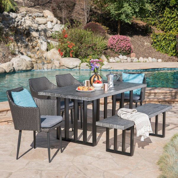 Zehner Outdoor 6 Piece Dining Set with Cushions by Rosecliff Heights