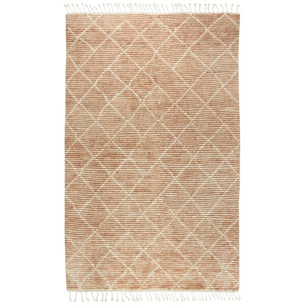 Doleman Hand-Knotted Wool Rust Area Rug by Bungalow Rose