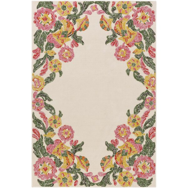 Dimaggio Hand-Tufted Carnation Pink/Kelly Green Indoor/Outdoor Area Rug by Bungalow Rose