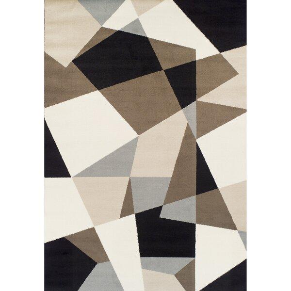 Connally Geometric Synthetic Black/Cream Area Rug by Brayden Studio